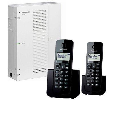 Central PABX IP Panasonic KX-HTS-32 com 06 troncos SIP + 08 ramais  sem fio Telefone Panasonic KX-TGB112LB (Base + Ramal)