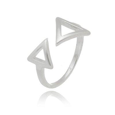 Anel de Prata Aberto Triangulos