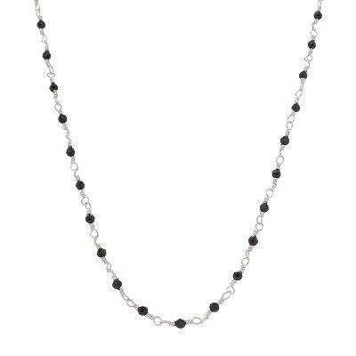 Colar Prata 925 Pedras Naturais - Onix