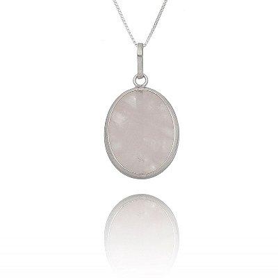 Colar navete de prata + pedra quartzo rosa