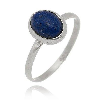 Anel Oval Medio Pedra Natural Lapis Lazuli