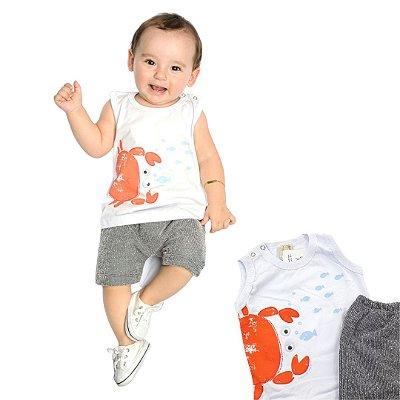 Roupa de Bebê Menino Conjunto de Verão Caranguejo Camiseta Branca