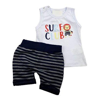 Roupa de Bebê Menino Conjunto Animais Regata Camiseta Branca