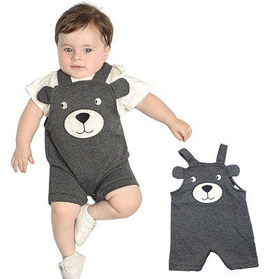 Roupa de Bebê Menino Macacão Curto Jardineira Moletinho Mescla