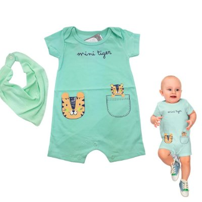 Roupa de Bebê Menino Macacão Curto Tigre Verde