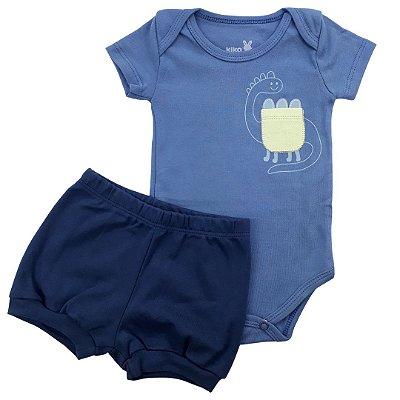 Roupa de Bebê Menino Conjunto Azul Body Manga Curta Dino