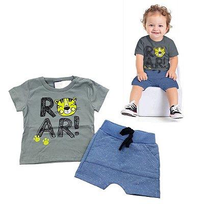Roupa de Bebê Menino Conjunto Camiseta Tigre e Bermuda