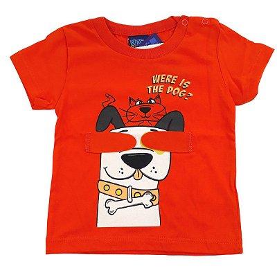 Roupa de Bebê Menino Camiseta Laranja Divertida Brincar
