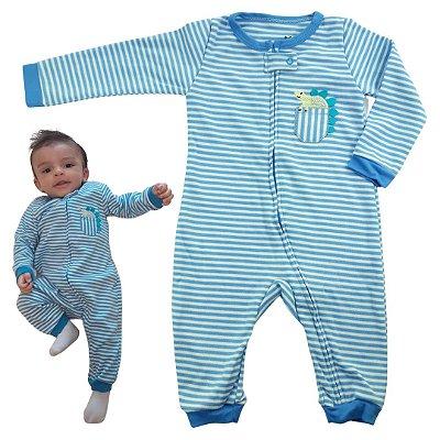 Macacão Bebê Menino Dino Listras Tecido Suedine com Zíper Azul