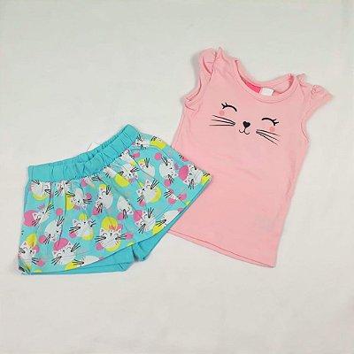 Conjunto Camiseta Manga Curta e Shorts Saia