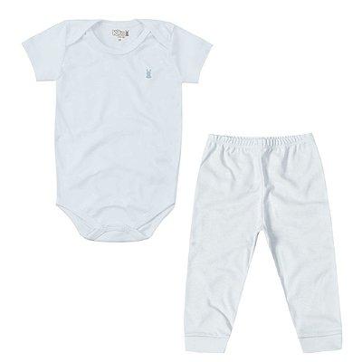 Conjunto Suedine Body Manga Curta e Calça Azul Bebê