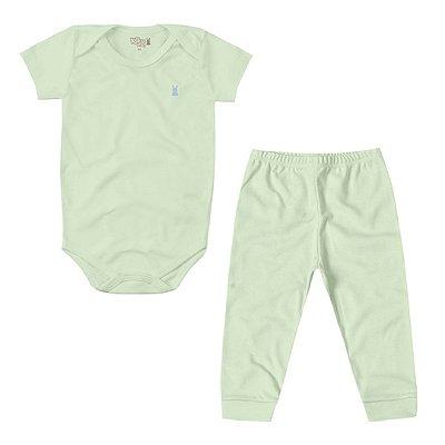 Conjunto Suedine Body Manga Curta e Calça Verde