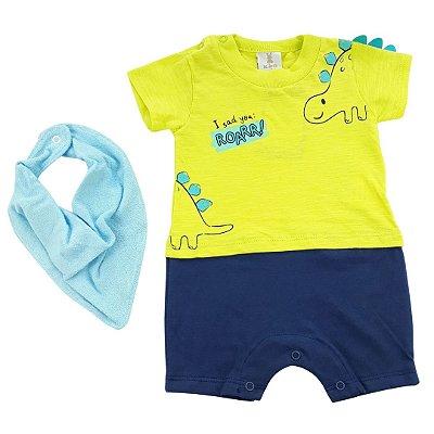 Roupa de Bebê Menino Macacão Curto Amarelo