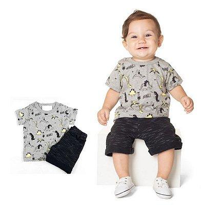 Conjunto Dinossauro Camiseta e Bermuda Moletinho