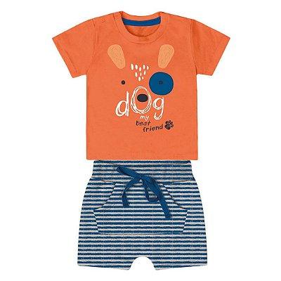 Roupa de Bebê Menino Verão Conjunto de Calor Dog Laranja Kiko Baby