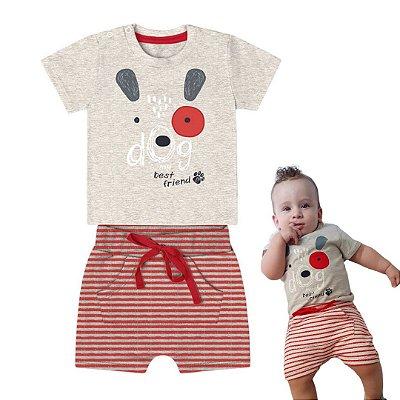 Roupa de Bebê Menino Verão Conjunto de Calor Dog Cinza Mescla Kiko Baby