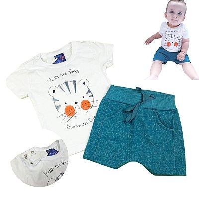 Roupa de Bebê Menino Verão Conjunto de Calor Urso Branco Kiko Baby
