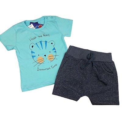 Roupa de Bebê Menino Verão Conjunto de Calor Urso Azul Kiko Baby