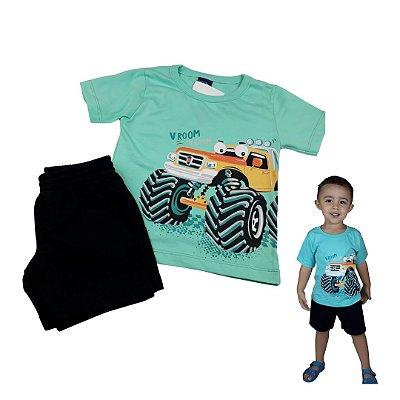 Conjunto Roupa de Bebê Infantil Calor Camiseta Bermuda Verde Carro
