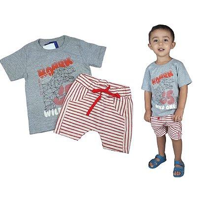 Conjunto Roupa de Bebê Infantil Calor Camiseta Bermuda Vermelho Dino