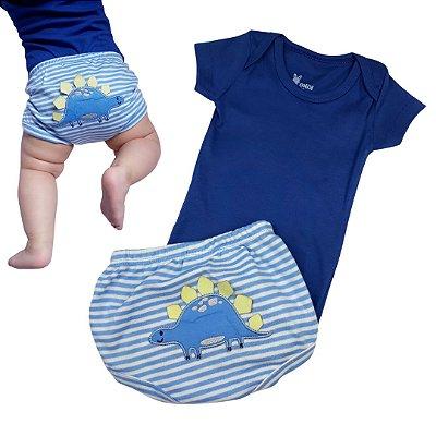 Conjunto Roupa de Bebê Menino Body Manga Curta  Dino Azul Calor