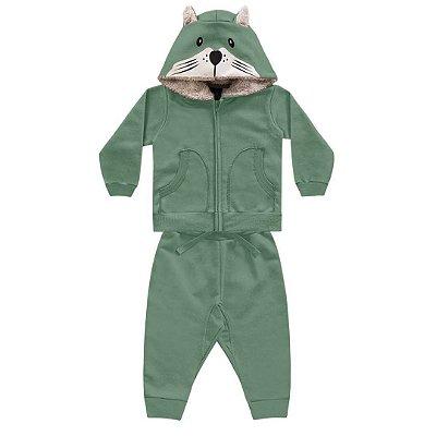 Conjunto de Moletom Touca Urso – Verde