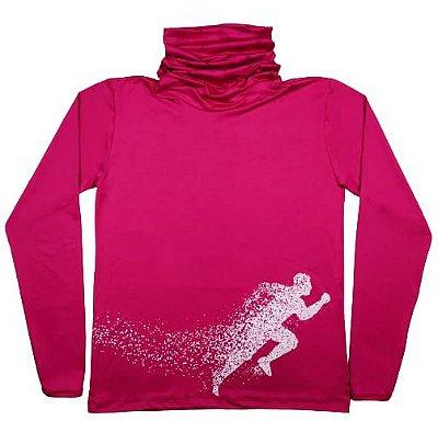 Camiseta Manga Longa Feminina C/ Gola e Dedinho Rosa