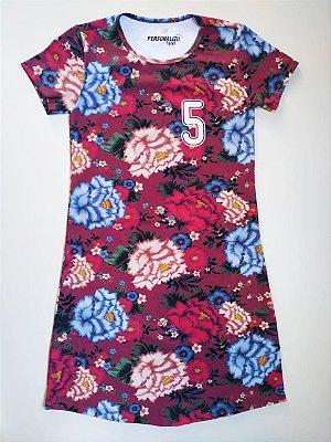 Vestido Estampado Bordô Floral 5KM