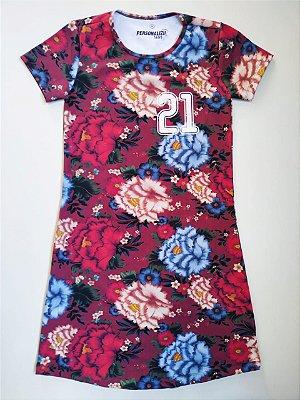 Vestido Estampado Bordô Floral 21km