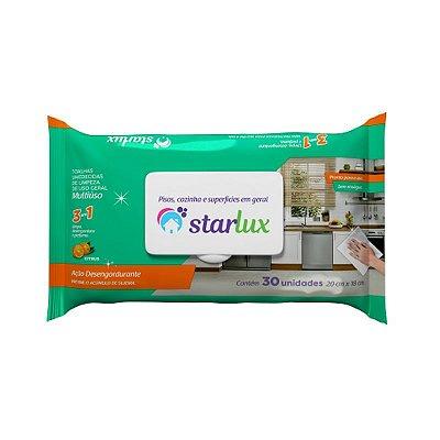 Toalha Umedecida Para Limpeza Multiuso 30 Unidades 3 em 1 - Starlux