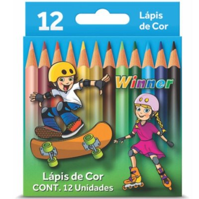 Lápis de Cor Winner Pequeno 12 Cores ( Madeira 100% Reflorestada )