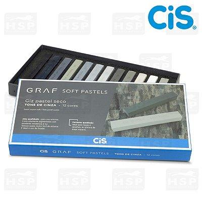 PASTEL SECO GRAF SOFT TONS DE CINZA C/ 12 CORES