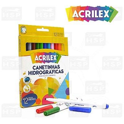 CANETINHAS HIDROGRAFICAS ACRILEX C/12 CORES
