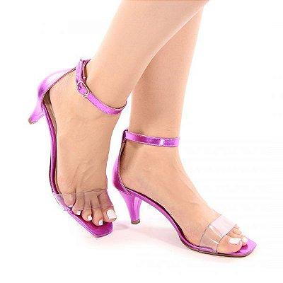 Sandália Tira Transparente Salto Alto Fino - Pink