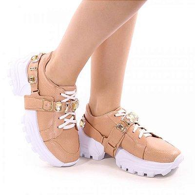 Tênis Feminino Chunky Sneaker Pedraria - Bege