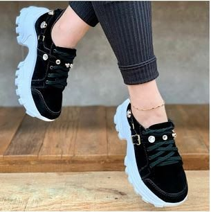 Tênis Feminino Chunky Sneaker Nobuck Pedraria - Preto