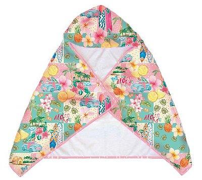 Toalha Infantil com Capuz Bora Bora - Paradise/Pink Dot