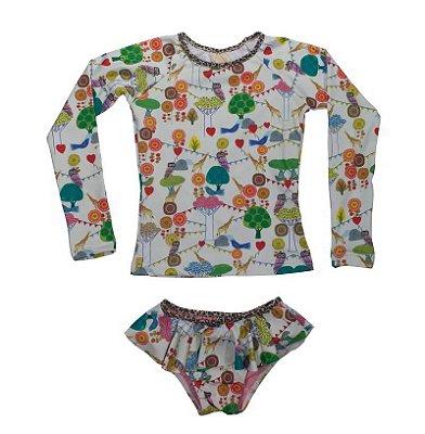 UaI-Kit Camisa e Calcinha Infantil Malokai - Jade