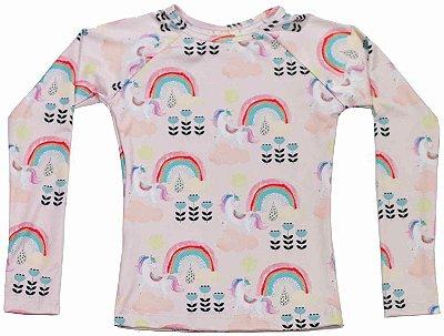 Camisa UV Infantil Menina Manga Longa Kailua - Rosy