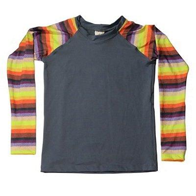 Camisa UV Infantil Menino Manga Longa Zuma - Cinza/Zion