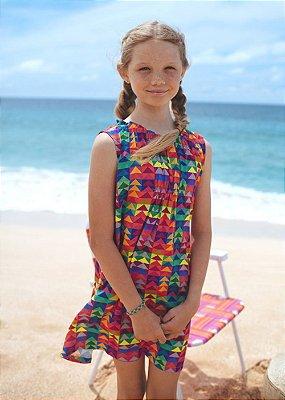 UeL-Vestido Infantil Estampado Coral - Lana