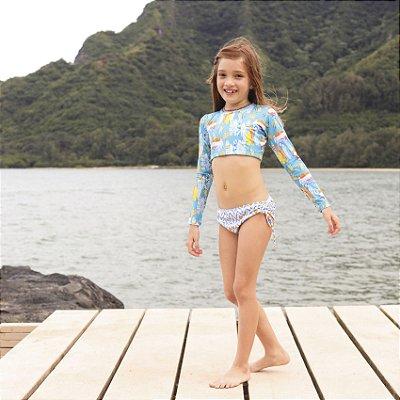 Biquíni Infantil Com Manga Cropped Estampado Santa Cruz - Makai/Alohi