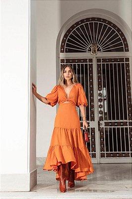 VESTIDO AMPLO BREEZY DRESS LARANJA CENOURA | DIMY