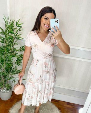 Vestido Tule  Midi Adryele  Floral - 3295