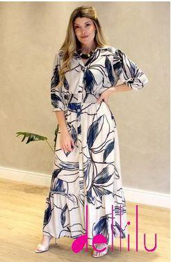 Vestido Longo Estampado Em Crepe - 20129
