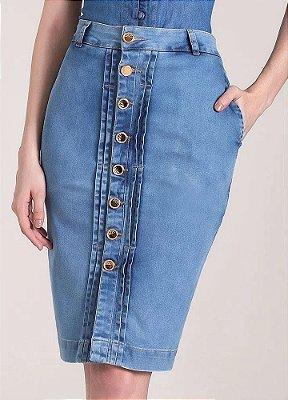Saia Lápis Jeans com Botões Frontais 62 CM Laura Rosa - 89617