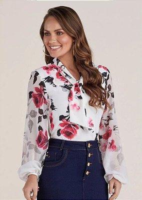 Camisa Feminina Floral Gola Laço Titanium Jeans - 24932