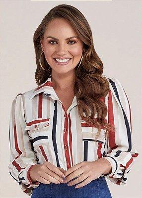 Camisa Feminina Off White Listrada Titanium Jeans - 24928
