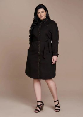 Vestido Chemise Em Sarja Preto Com Cinto em Faixa Para Amarração Plus Titanium  - 25519