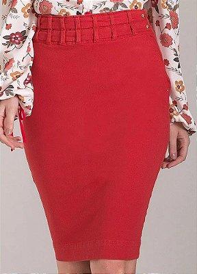 Saia Sarja Lápis Collor Vermelho com Cintos Laura Rosa - 89640